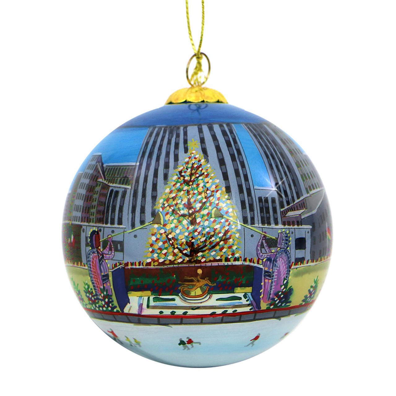 Ornaments Christmas.Rockefeller Center Christmas Tree Glass Ball Ornament