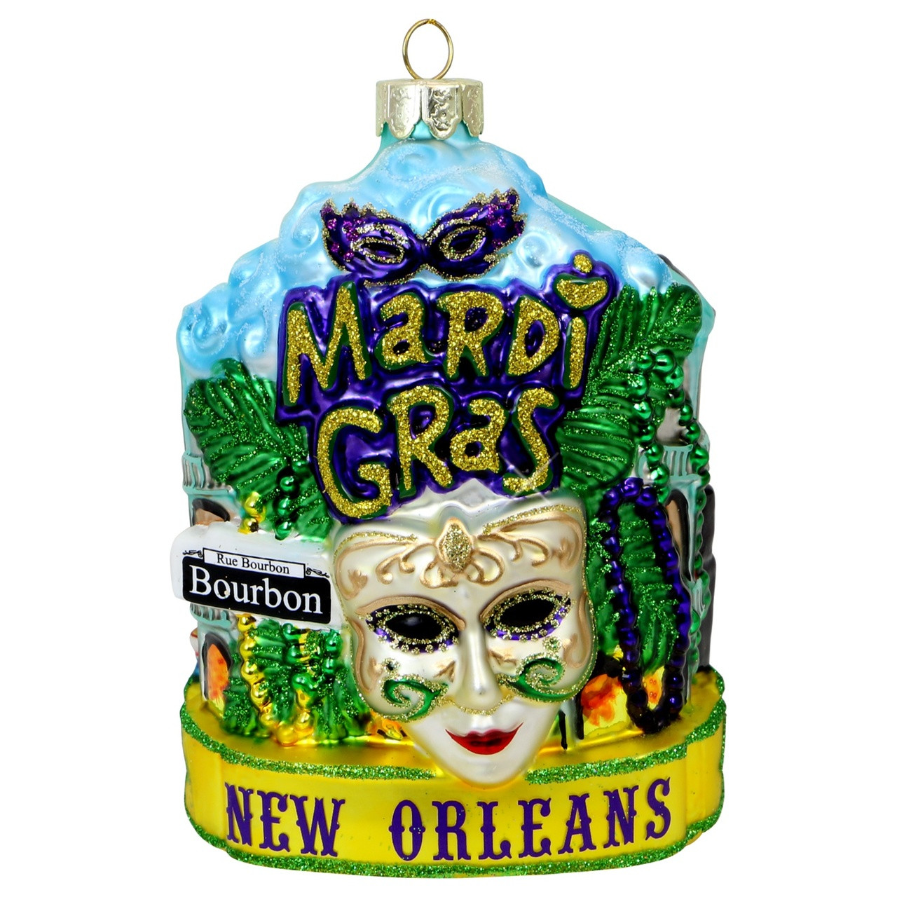 New Orleans Christmas Ornaments.New Orleans Mardi Gras Glass Christmas Ornament