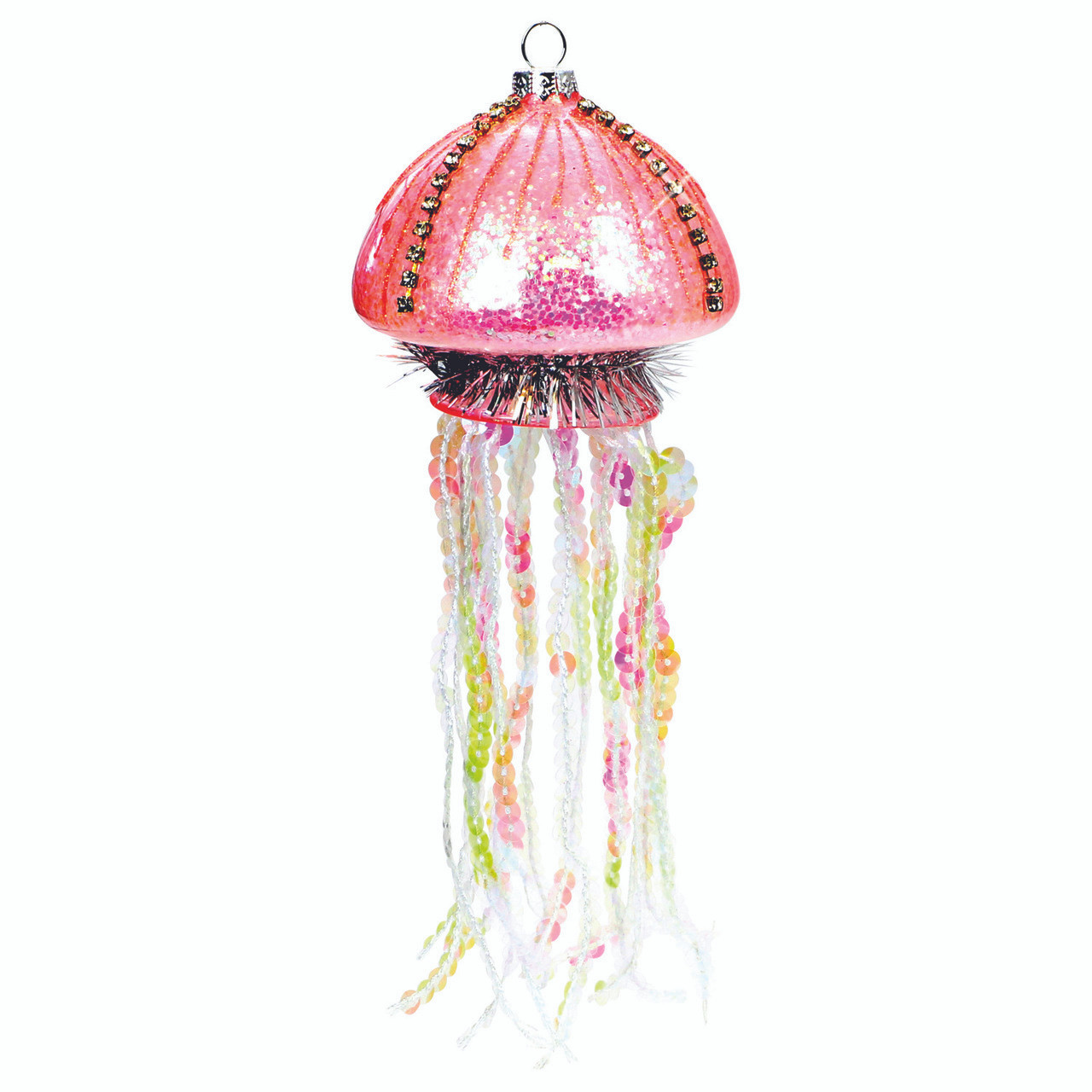 Glass Pink Jellyfish Christmas Ornament And Suncatcher 5 5 Inches