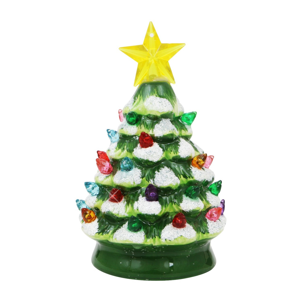 Ceramic Old Fashioned Light Up Christmas Tree 5.5 Inches