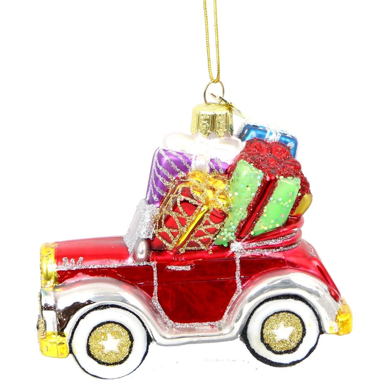 Car Christmas Ornaments.Christmas Car Glass Ornament