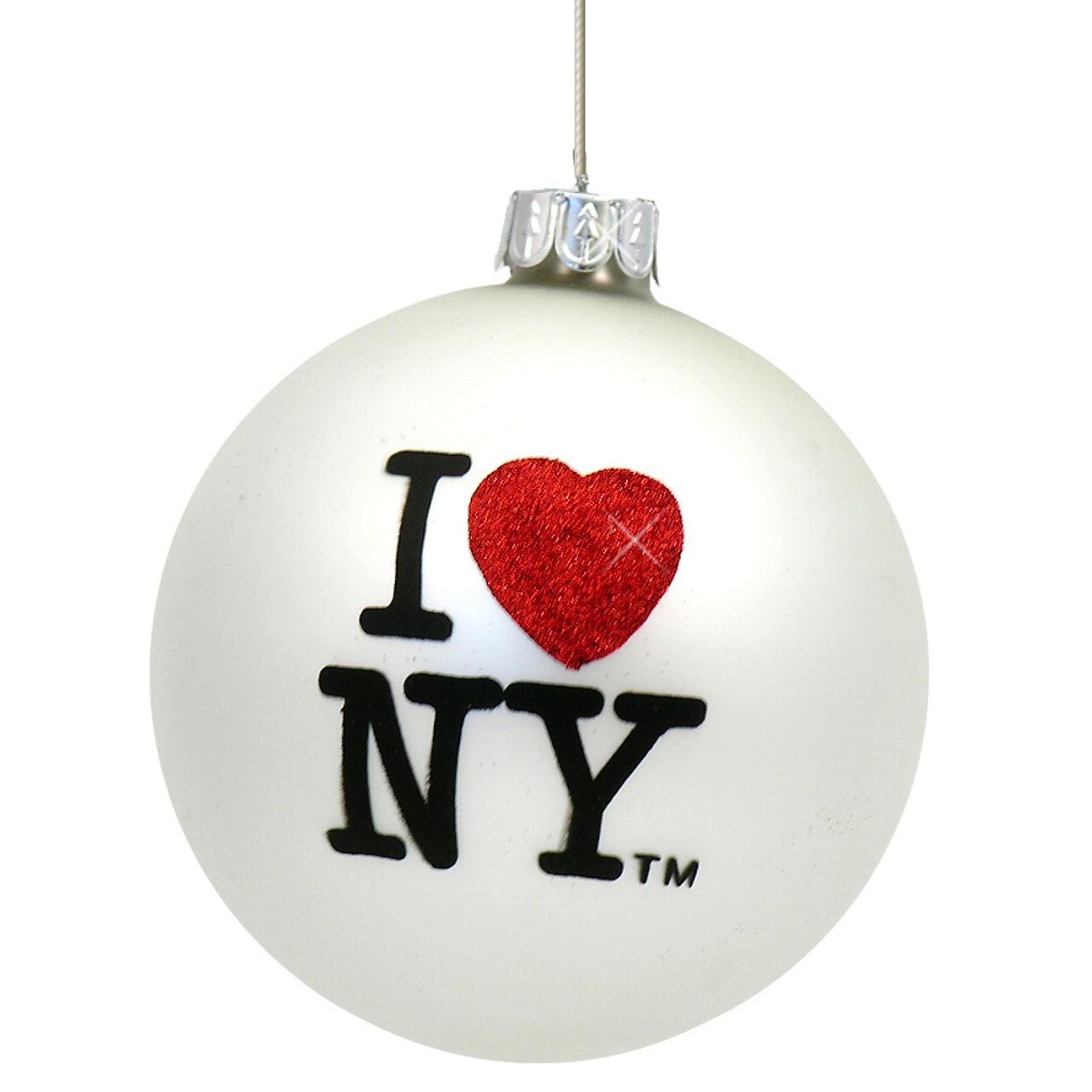 I Love NY Glass Ornament