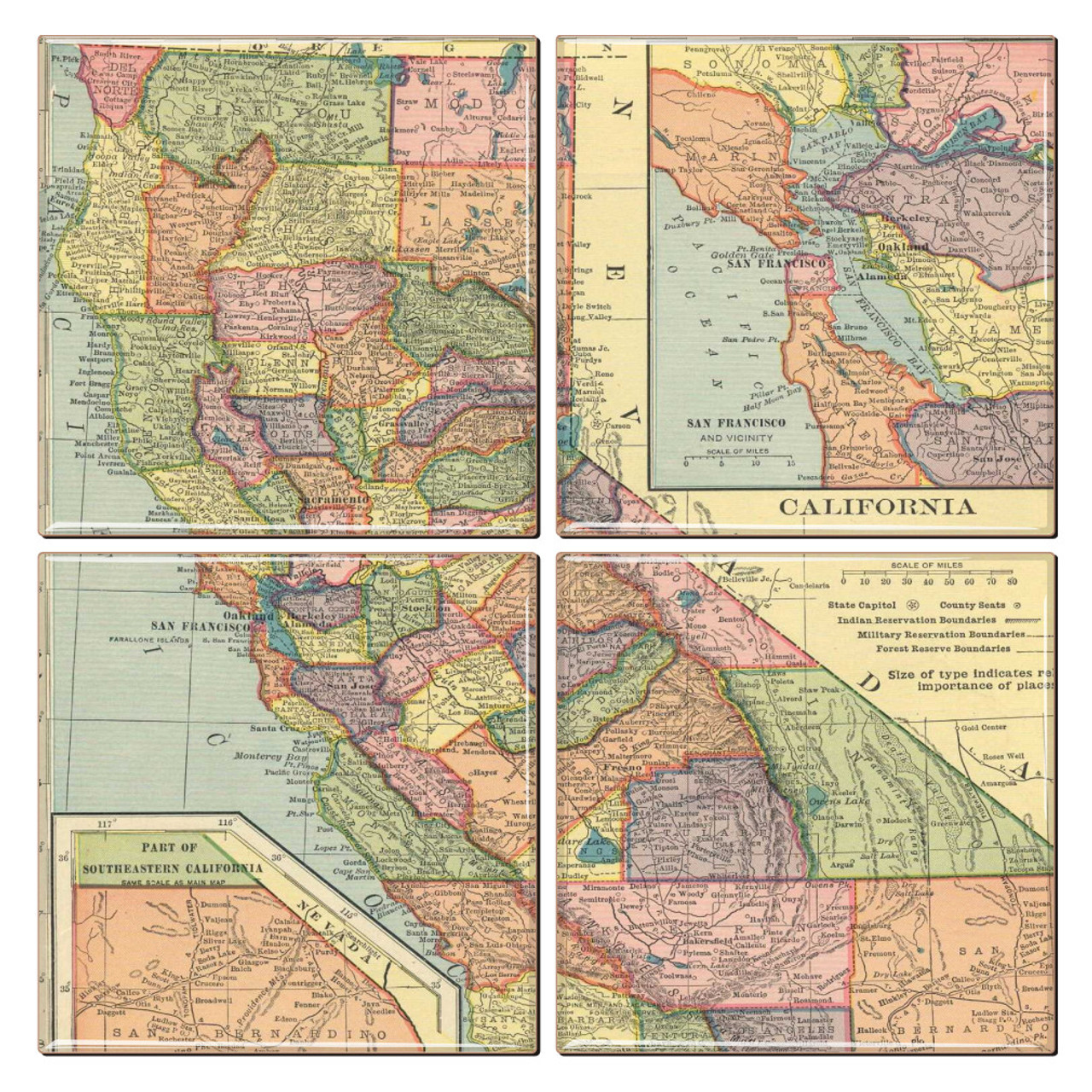 California Map Coaster Set Of 4