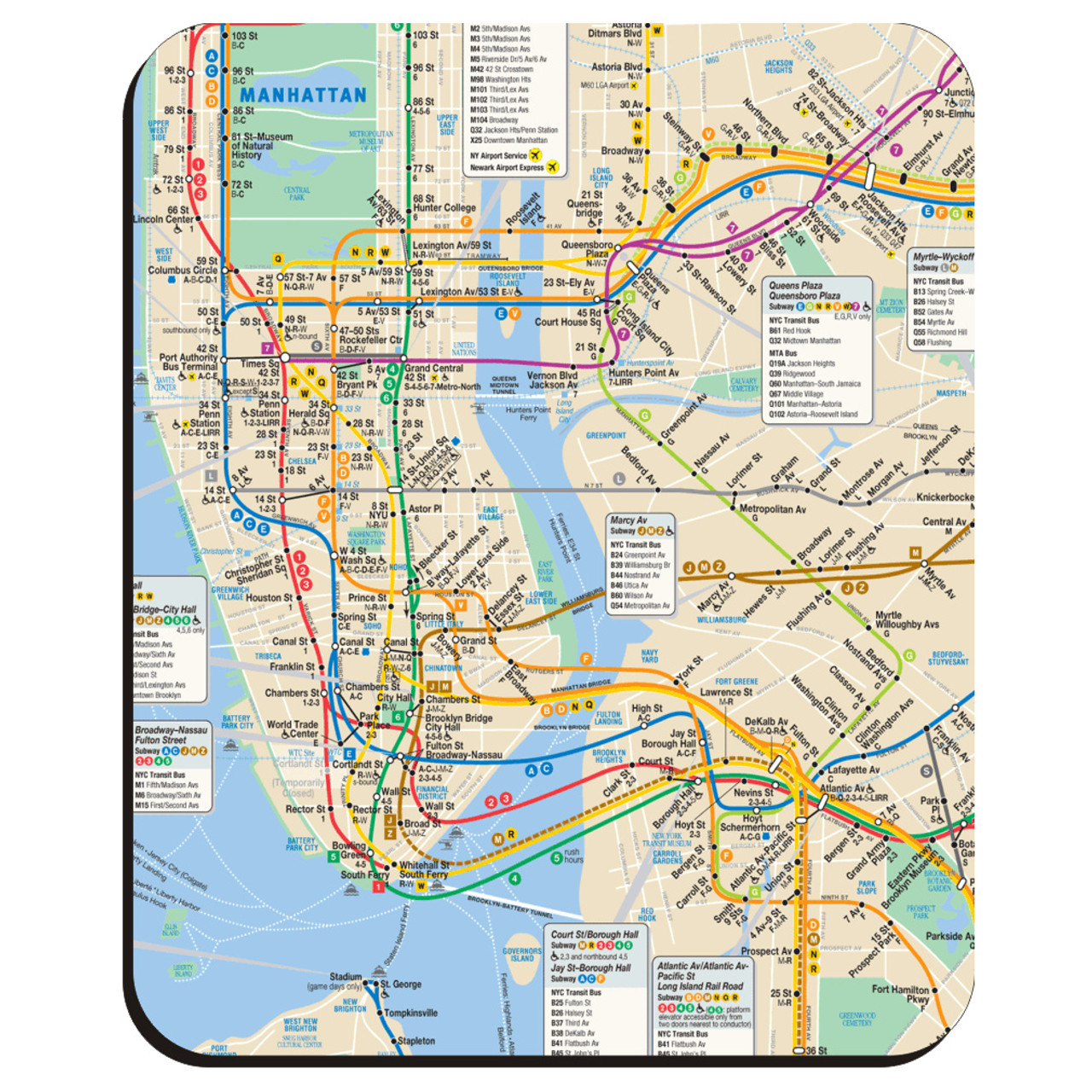 Manhattan Mta Mini Subway Map And Address Finder.New York City Subway Mouse Pad