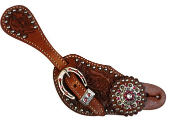 Ladies Spur Strap With Pink Crystal Rhinestones