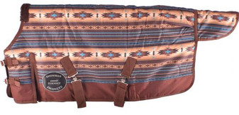 Brown and Turquoise Southwest Print 1200D Turnout Blanket
