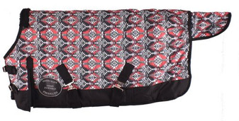 Black and Red Southwest Print 1200D Turnout Blanket