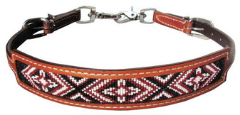 Red Beaded Leather Wither Strap