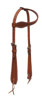 Cow Leather Headstall with Wire Tooling