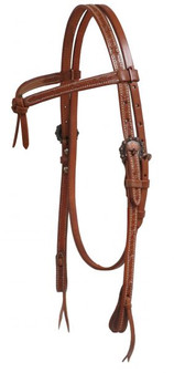 Futurity Knot Headstall with Barbed Wire Tooling