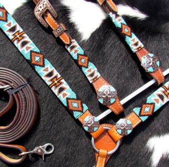 Turquoise and OrangeBeaded Aztec Headstall and Breastcollar Set