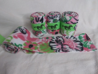 Green and Pink Flower Polo Wraps