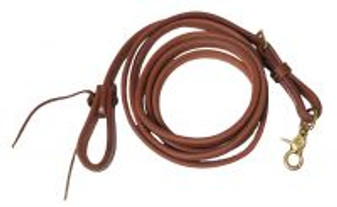 Oiled Harness Leather Adjustable Roping Rein - 8' x 5/8""