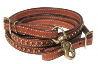 Brass studded contest reins
