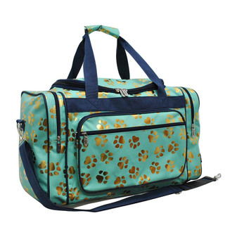 "Gold Puppy Paw Mint NGIL Canvas 20"" Duffle Bag"