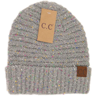 Confetti Boucle Knit Cuff Beanie - Natural Grey