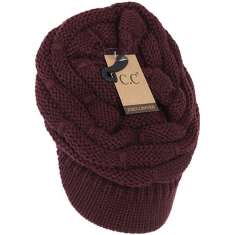 Ribbed Knit Hat With Brim- Berry