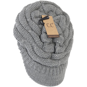 Ribbed Knit Hat With Brim- Light Grey