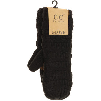 Solid Fuzzy Lined Mittens- Black
