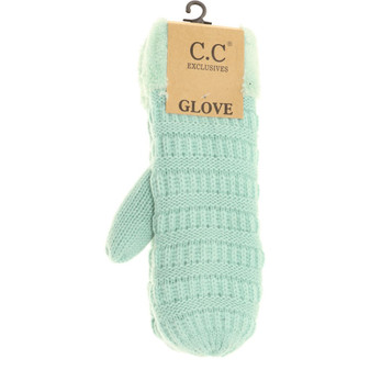 Solid Fuzzy Lined Mittens- Mint