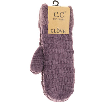 Solid Fuzzy Lined Mittens- Violet
