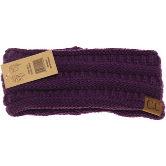 Solid Ribbed Headwrap- Purple