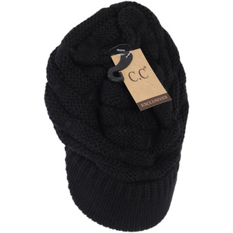 Ribbed Knit Hat With Brim- Black