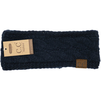 Solid Cable Knit CC Head Wrap- Navy