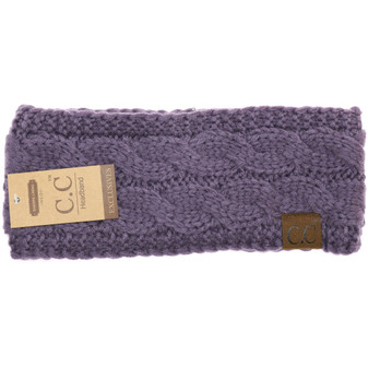 Solid Cable Knit CC Head Wrap- Violet
