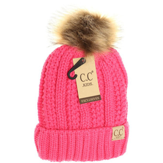 Kids Fuzzy Lined Fur Pom CC Beanie- New Candy Pink