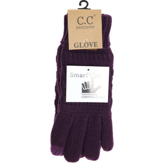 Knit CC Gloves With Lining-Purple