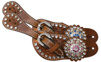 Teal Rhinestone Youth Spur Straps