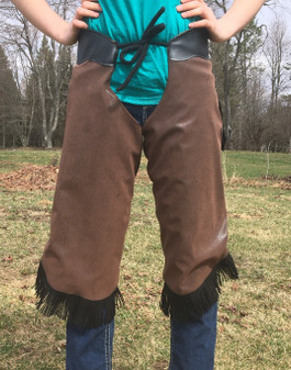 Brown with Black Fringe Winter Riding Chaps