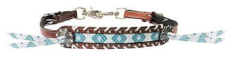 Teal and brown Navajo print wither strap.