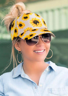 Sunflower Hollow Out Ponytail Baseball Cap- White