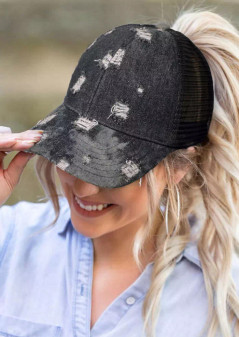 Ripped Hole Distressed Hollow Out Ponytail Baseball Cap