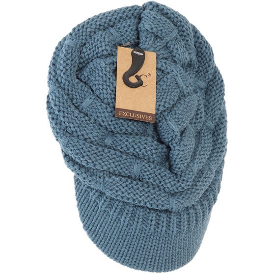 Ribbed Knit Hat With Brim- Steel Blue