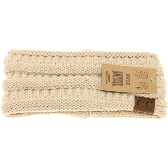 Solid Ribbed Headwrap- Beige