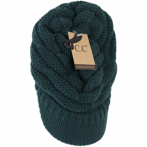 Ribbed Knit Hat With Brim- Deep Pine