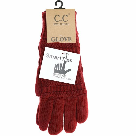 Knit CC Gloves With Lining-Burgundy