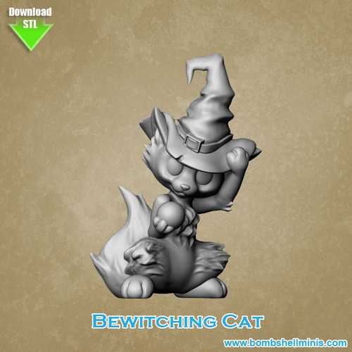 84001 - Bewitching Cat - Digital STL Download
