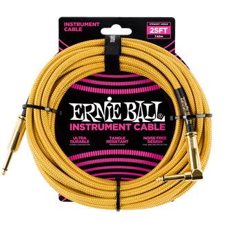 25' BRAIDED STRAIGHT / ANGLE INSTRUMENT CABLE - GOLD / GOLD