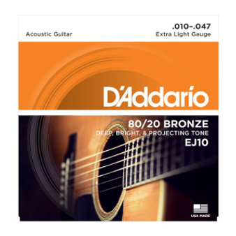 EJ10 80/20 Bronze Acoustic Guitar Strings, Extra Light, 10-47