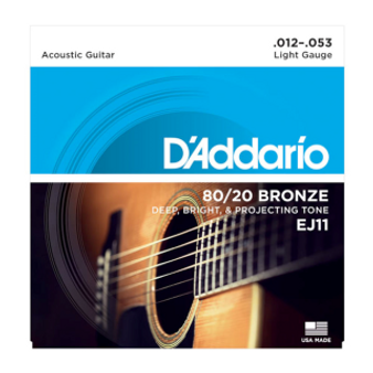 EJ11 80/20 Bronze Acoustic Guitar Strings, Light, 12-53
