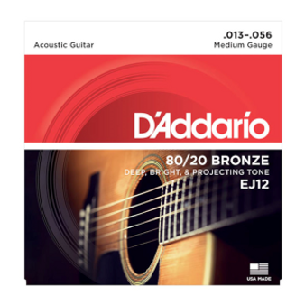 EJ12 80/20 Bronze Acoustic Guitar Strings, Medium, 13-56