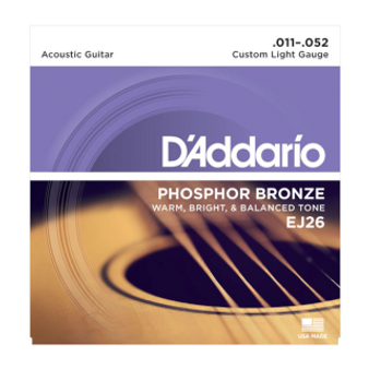 EJ26 Phosphor Bronze Acoustic Guitar Strings, Custom Light, 11-52
