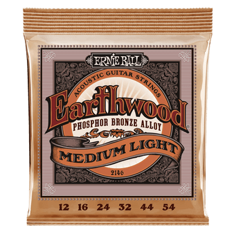 EARTHWOOD MEDIUM LIGHT PHOSPHOR BRONZE ACOUSTIC GUITAR STRINGS - 12-54 GAUGE