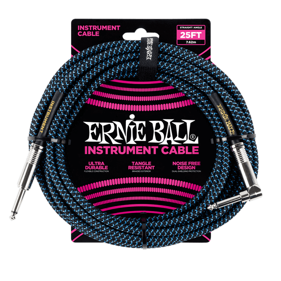 25' BRAIDED STRAIGHT / ANGLE INSTRUMENT CABLE - BLACK / BLUE