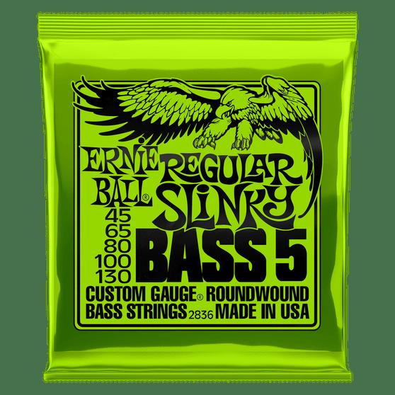 REGULAR SLINKY 5-STRING NICKEL WOUND ELECTRIC BASS STRINGS - 45-130 GAUGE