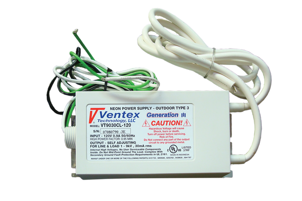 Ventex VT9030CL-120 Neon Transformer Power Supply   100v-9000v  30mA